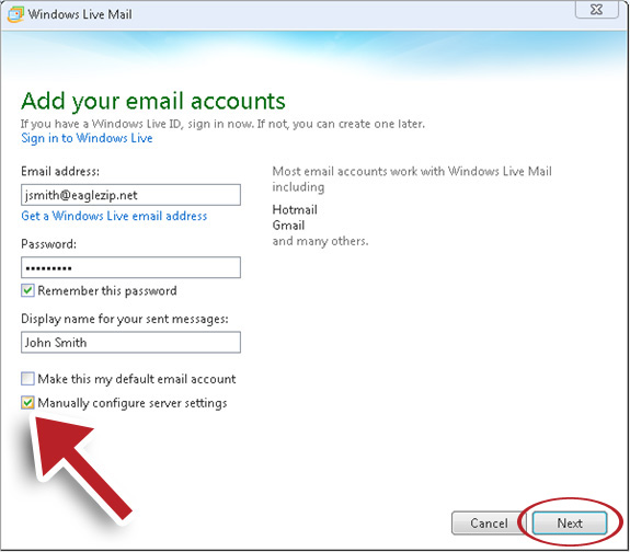 Web hosting linux: setting up email in windows live mail (cpanel.